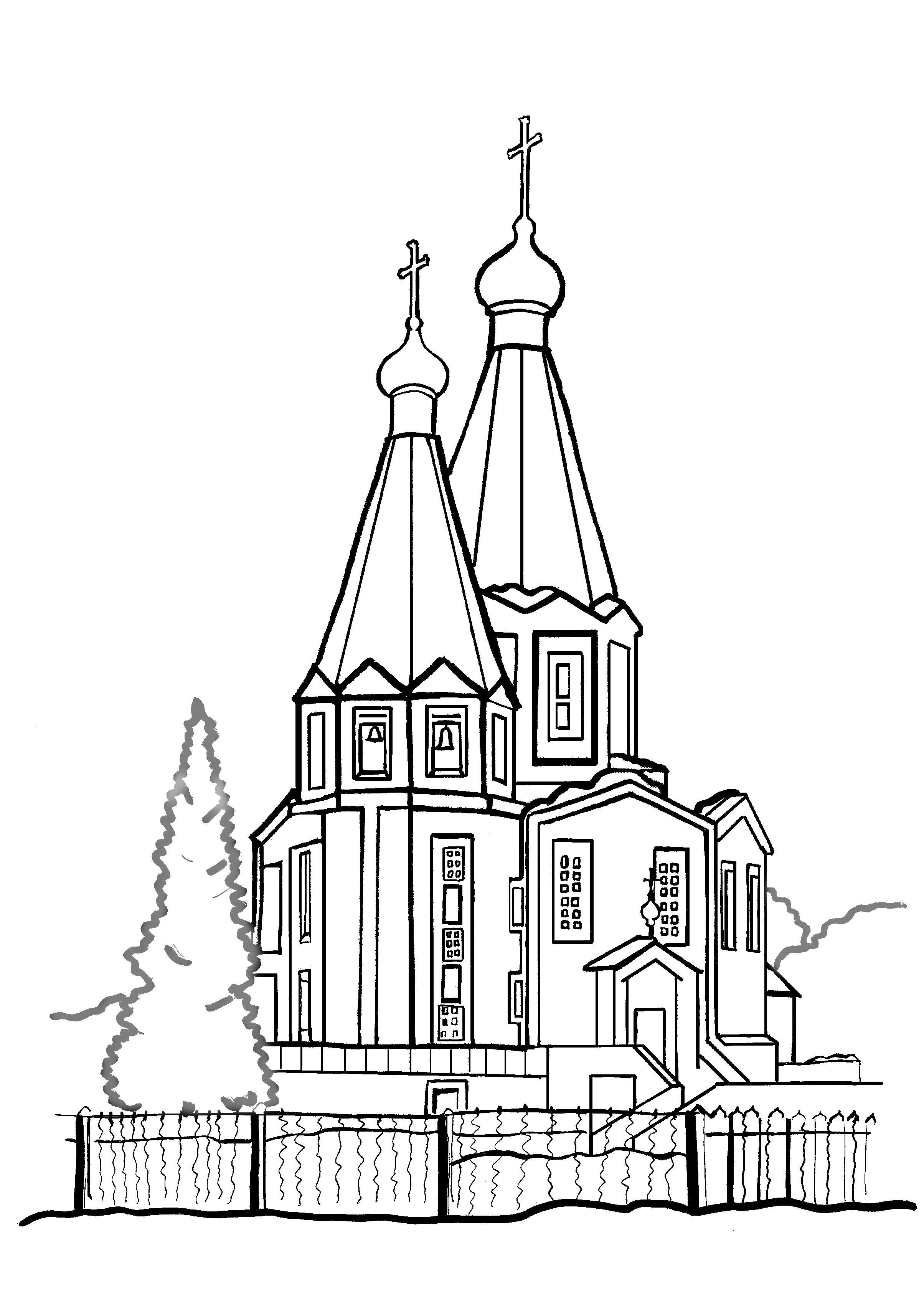 Картинки храмы раскраски